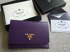 S/S 2016 Prada Wallet Cheap Sale Online-Prada Purple Saffiano Leather Credit Card Holder