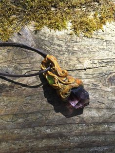 Amethyst and Peridot Raw Gemstone Pendant by lanternmoss on Etsy