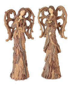 Brown Driftwood Angel Figurine Set