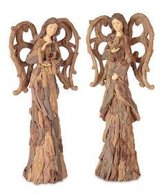 Brown Driftwood Angel Figurine Set