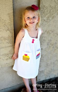 Toddler Dress from Adult T-Shirt with Cricut Iron-On