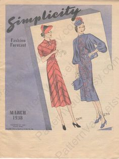 Simplicity Fashion Forecast, March 1938 featuring Simplicity 2691 and 2715