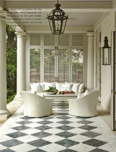 Shutters/screen porch/veranda/southern sophistication/patio/paint color palette/ The Virtual Builder Outdoor Living Rooms, Outdoor Spaces, Living Spaces, Outdoor Couch, Outdoor Patios, Outdoor Kitchens, Outdoor Seating, New Homes, House Design