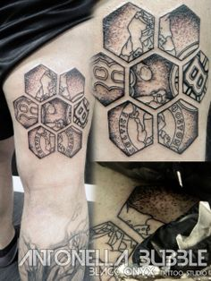 Boston tattoo (sports tattoo - Patriots, Bruins, Celtics, Red Sox) - dot work, geometrical. By Antonella Bubble.