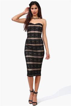 1 Black Tie Lace Dress in Black