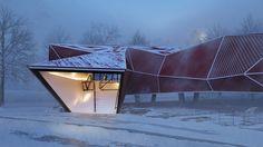 'Museum Snow' by Aldo Garcia [ Mexico ] Minimalist Architecture, Amazing Architecture, Contemporary Architecture, Interior Architecture, 3d Architectural Visualization, 3d Visualization, Render Image, Interesting Buildings, Modern Buildings