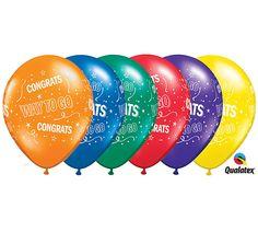 "#burtonandburton 11"" Qualatex Congrats Way to go Latex balloon assortment. Colors include: Quartz purple, sapphire blue, emerald green, ruby red, citrine yellow,   mandarin orange.Pack of 50."
