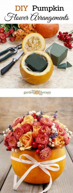 DIY Pumpkin Flower Arrangement