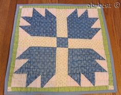 PA Farm House c 1890s Bears Paw Antique TABLE Doll Quilt Cadet BLUE