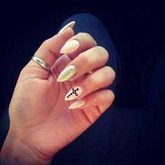 Pink, Glitter, stiletto nails
