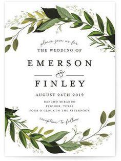 These invitations are so pretty! Vines of Green Wedding Invitations. #greenery #weddinginvitations #ad #wedding