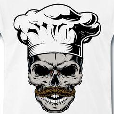 Buy Monochrome Vintage Skull by imogi on GraphicRiver. Monochrome vintage skull in chef style. Body Art Tattoos, Tattoo Drawings, Art Drawings, Tatoos, Koch Tattoo, Chef Tattoo, Skull Sketch, Dibujos Tattoo, Skull Logo