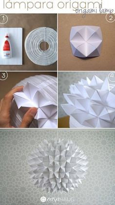 Steps for origami lamp / Origami pendant steps / Casa Haus Source by Origami Design, Origami Owl Easy, Paper Crafts Origami, Origami Art, Diy Paper, Origami Bookmark, Origami Patterns, Origami Decoration, Diy Chandelier