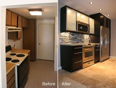 Kitchen needs a renovation once in a while and small kitchen renovation ideas will help you with that! small kitchen renovation ideas before and after. Condo Kitchen Remodel, Kitchen Remodel Pictures, Cheap Kitchen Remodel, Apartment Kitchen, Kitchen Renovations, Remodel Bathroom, Small Kitchen Remodeling, Kitchen Upgrades, Apartment Ideas