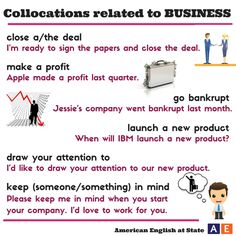 """We'd like to """"draw your attention"""" to these collocations! A collocation is a particular combination of words that is used often. Check out our #AmericanEnglish graphic with collocations related to business: close a deal, make a profit, go bankrupt, launch a new product, draw your attention to, and keep someone in mind. Keep us in mind while you're studying English!"""