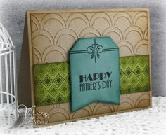 Handmade Father's day card by Julee Tilman using the Deco Borders and Sparkly Dreams sets from Verve. #vervestamps
