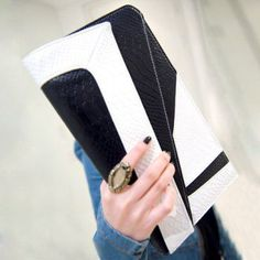 Vintage Style Women's Clutch Bag Color Block PU Covered