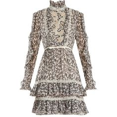 Giambattista Valli Floral-print ruffled silk-georgette dress (89.800 RUB) ❤ liked on Polyvore featuring dresses, floral ruffle dress, flower print dress, ruffled dresses, frilly dresses and bow dress