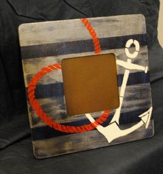 Painted Anchor & Rope Nautical Frame by FRAMESetcetera on Etsy, $13.00