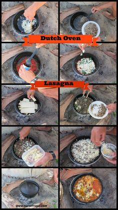We love our dutch oven. It's so fun to make new and different recipes with our dutch oven. I had always aspired to make lasagna with our dutch oven because it's one of my favorite meals. How rad wo. Fire Cooking, Cast Iron Cooking, Oven Cooking, Outdoor Cooking, Skillet Cooking, Camping Desserts, Camping Meals, Camping Recipes, Camping Cooking