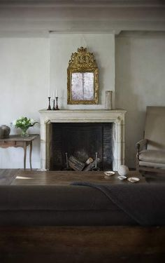 Fireplace, from an Century Dutch Farmhouse, interior elements by Antiek Amber Fireplace Surrounds, Fireplace Mantels, Fireplaces, Fireplace Ideas, Interior And Exterior, Interior Design, Farmhouse Interior, Limestone Fireplace, Rustic Elegance