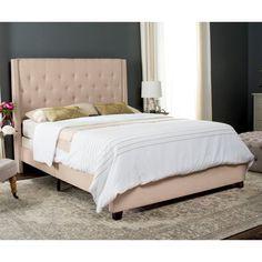 Safavieh Winslet Wingback Upholstered Platform Bed Navy, Size: Twin