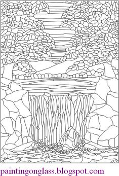 stainedglasspatterns | Free Stained Glass Pattern : Waterfall ~ painting on glass