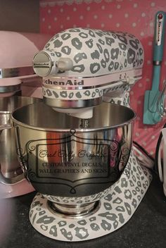 Will definitely be getting this for my kitchen aid! / Kitchen mixer vinyl decal LEOPARD PRINT decal by GoodGollyGraphics. Kitchen Dining, Kitchen Decor, Kitchen Goods, Kitchen Stuff, Do It Yourself Home, Kitchen Aid Mixer, Cheetah Print, Leopard Prints, Kitchen Gadgets