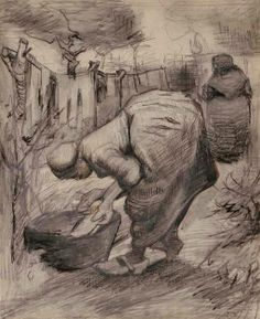 Vincent van Gogh Drawing, Pencil, pen, black chalk Nuenen: August - late in month, 1885 Private collection F: JH: 907 Image Only - Van Gogh: Peasant Woman at the Washtub and Peasant Woman Hanging Up the Laundry Vincent Van Gogh, Van Gogh Drawings, Van Gogh Paintings, Ink Drawings, Art Van, Alphonse Mucha, Van Gogh Zeichnungen, Desenhos Van Gogh, Van Gogh Arte