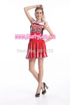 ccc8f4f92 free shipping Ladies Glee Cheerleader Costume School Girl Full Outfits Fancy  Dress Uniform S-3XL