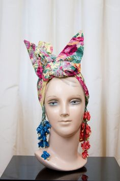 0bee234d821 1940 s Turban Hat    Carmen Miranda Style Colorful Bright Pink Turban with  Handmade Flowers