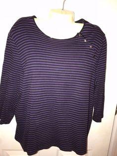 Woman's Size 2X Shirt By CHAPS Black & Purple Stripe 3/4 Sleeves Cotton Stylish #Chaps #Crewneck