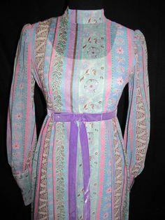 d19822e854 Vintage 60s Floral Maxi Dress Prairie Boho Hippie XS S 30