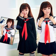 Sailor Navy Fancy Dress Uniform Cosplay Costume School Girl Outfit White Black #generic #Dress #Party