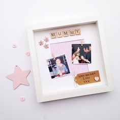 A lovely personalised gift for your Mum. The hand stamped tag can be personalised with any message and the scrabble name can also be customised- please leave a note when you check out with these details. All of my frames include free photo printing, just email me the photos with your Etsy username and I will edit and print them for you (littlethingsbylucy@outlook.com). I will print the photos in the colour that you send them unless you ask for them to be changed (e.g. to black and white)…