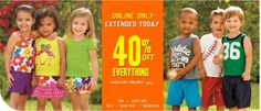 Today only! 40% off + free shipping on all orders at Children's Place