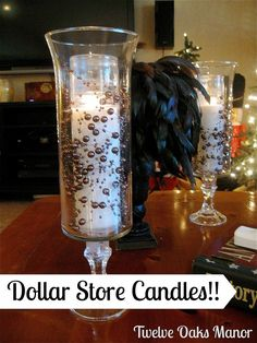 Next time you're at the Dollar Store, grab some candle holders and make this gorgeous idea for your decor! - You'll be happy you saw this! I've been seeing these dollar store hurricane candle holders all over the internet and decided it was time to DIY Christmas Candle Holders, Hurricane Candle Holders, Hurricane Glass, Candle Jars, Christmas Candles, Candle Sticks, Advent Candles, Dollar Store Crafts, Dollar Stores