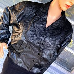 Excited to share this item from my #etsy shop: M 80s Leather Moto Jacket by G-III Geometric Snakeskin Patchwork Batwing Sleeve Padded Shoulder Biker Glam Rock New Wave Goth Depeche Mode
