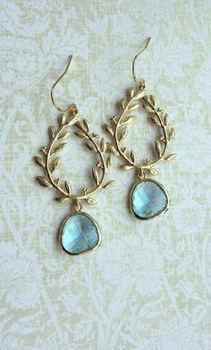 Aqua Blue Laurel Wreath Earrings, Gold Plated Aqua Blue Glass Gold Drop Dangle Earrings. Blue and Gold Wedding By Marolsha.