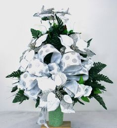 Beautiful Silver And White Poinsettia's Christmas Cemetery Flower Arrangement