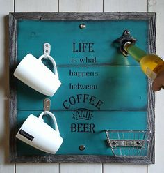 The perfect addition to your bar or man cave! Any coffee and beer loving man or woman will love this sign hanging in their favorite spot so that he can pop the top off their favorite beer. Makes a great gift for that hard to buy for person in your life!  Our Life is what happens between