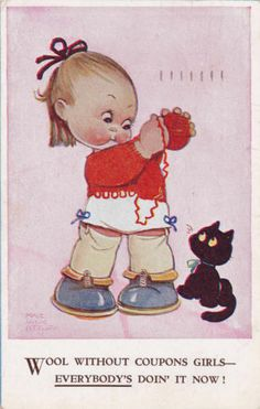 COMIC POSTCARD - MABEL LUCIE ATTWELL - WOOL WITHOUT COUPONS GIRLS - EVERYBODY'S