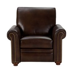 "Conor Leather Recliner, Omni/ Brown - Ethan Allen US. Dimensions: 38""w x 40""d"