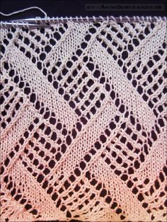 Diamond lace knitting pattern 6
