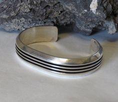 Sterling silver cuff bracelet, marked sterling, signed FJ, Felix Joe, men's or women's, vintage, heavy, 37.6 grams