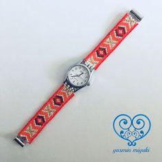 Bead Loom Patterns, Beaded Jewelry Patterns, Peyote Patterns, Macrame Bracelets, Bracelet Watch, Beaded Watches, Watch Diy, Brick Stitch, Loom Bracelets