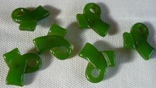 Six Green Loopy Bakelite Buttons
