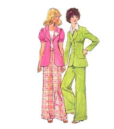 Vintage 70s Boho Notched Collar High Seam Jacket and Wide Leg Pants Sewing Pattern Simplicity 5642 Bust 32