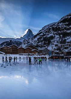 What better place to ice-skate than in the snow-covered Swiss Alps? Natural and artificial rinks can be found at the centre of Zermatt, an Alpine village near the base of the Matterhorn, which is one of the highest peaks in Europe. http://zermatt.hifromswitzerland.com #switzerland #schweiz #swiss