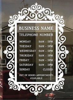 Opening Hour Times Sign custom for business, retail & bespoke design Home Hair Salons, Hair Salon Interior, Nail Salon Decor, Beauty Salon Decor, Salon Interior Design, Home Salon, Salon Design, Salon Business, Business Signs